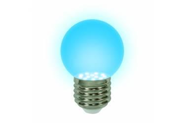 Лампа светодиодная UNIEL LED-G45-0,65W/BLUE/E27 декор синяя