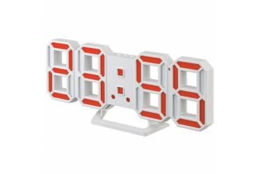 "LED часы-будильник Perfeo ""LUMINOUS 2"", белый корпус / красная подсветка (PF-6111)"