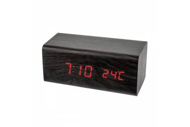 "LED часы-будильник Perfeo ""Block"", чёрный/красная (PF-S718T) время, температуратура"