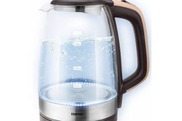 Чайник электрический Centek CT-0065 Beige стекло, 1.7л 2200Вт, LED-подсветка