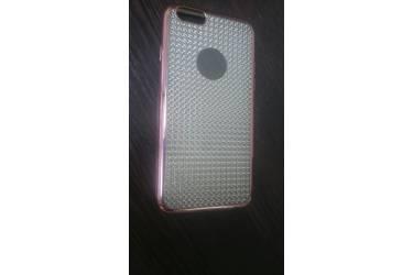 Силиконовая накладка Iphone 6G/6S имитация страз серебро