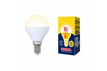 Лампа светодиодная Uniel Norma LED-G45-9W/WW/E14/FR/NR шар