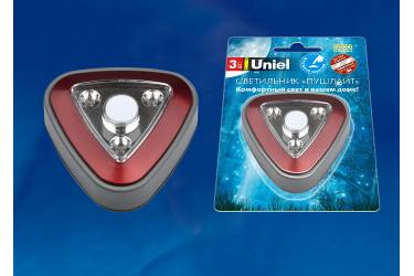 Фонарь Uniel Push Light DTL-356 Треугольник/Red/3LED/3AAA (в комплект не входят)