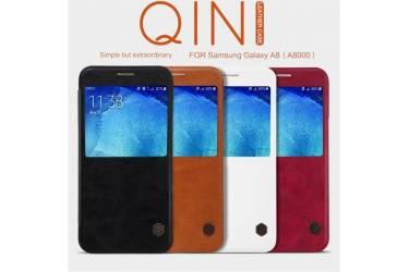 Чехол-книга Nillkin QIN для Samsung Galaxy A8 2016 /кожа/с окном/ красный