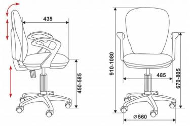Кресло детское Бюрократ CH-W513AXN/ANCHOR-RD красный якоря Anchor-Rd (пластик белый)