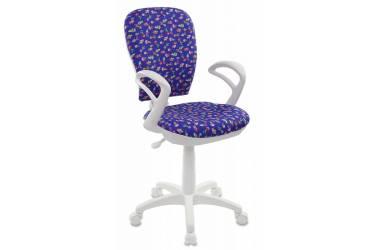 Кресло детское Бюрократ CH-W513AXN/CACTUS-BL синий кактусы Cactus-Bl (пластик белый)