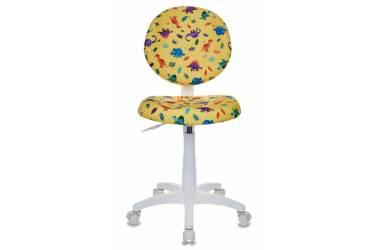 Кресло детское Бюрократ KD-W6/DINO-Y желтый динозаврики (пластик белый)