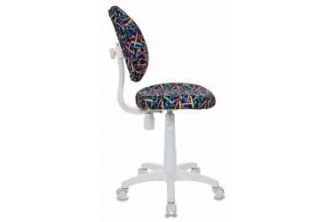 Кресло детское Бюрократ KD-W6/PENCIL-BL синий карандаши (пластик белый)