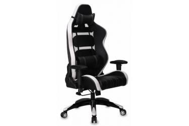 Кресло игровое Бюрократ CH-772/BLACK+WH две подушки белый/черный искусственная кожа (пластик черный/белый)