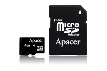 Карта памяти Apacer MicroSDHC 4GB Class 4+adapter