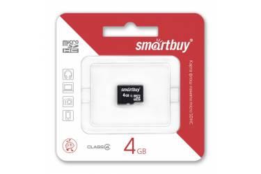 Карта памяти SmartBuy MicroSDHC 4GB Class 4+adapter