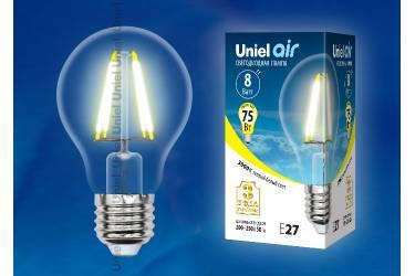 Светодиодная (LED) Лампа FIL (прозрачная) Uniel LED-A60-8W/WW/E27/CL AIR стандарт