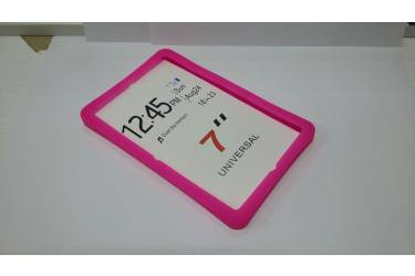 Универсальная силиконовая накладка на планшет 10 розовая с подставкой