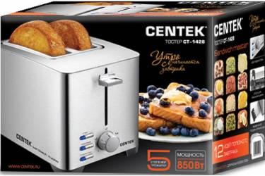 Тостер Centek СТ-1428 (сталь) 850Вт, 5 уровней прожарки, 2 тоста, поддон, стоп, подогрев, разморозка