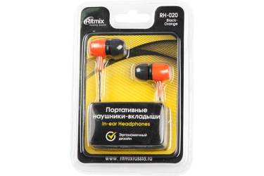 Наушники Ritmix RH-020 внутриканальные черно-оранжевые