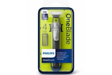 Триммер Philips OneBlade QP2530/20 черный/салатовый (насадок в компл:4шт)