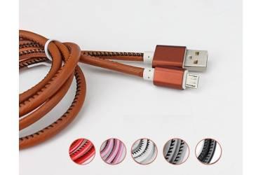 Кабель USB micro кожанная оплетка с метал наконечником фиолетовый