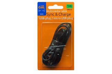 Кабель Gal micro USB 1m черный