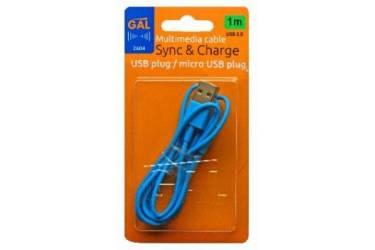Кабель Gal micro USB 1m синий