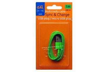 Кабель Gal micro USB 1m зеленый