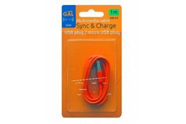 Кабель Gal micro USB 1m оранжевый