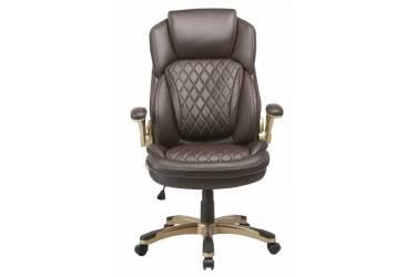 Кресло руководителя Бюрократ T-9915A/BROWN коричневый рец.кожа/кожзам (пластик золото)