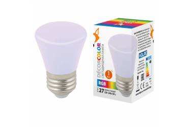 Лампа светодиодная Volpe COLOR LED-D45-1W/RGB/E27/FR/С BELL колокольчик RGB