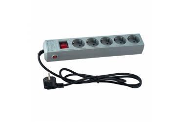 Сетевой фильтр Perfeo 1,8м, 5 розеток, 2 USB, серый
