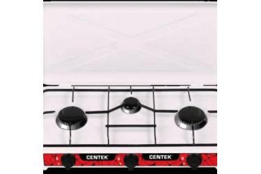 Плита газовая Centek CT-1522 (белая), 3 конфорки, КРЫШКА, сменные форсунки баллон/магистраль