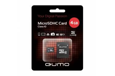 Карта памяти MicroSDHC Qumo 4GB Class 10+adapter