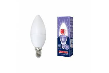 Лампа светодиодная Uniel Norma LED-C37-7W/DW/E14/FR/NR 4000K свеча