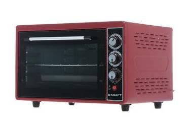 Мини-печь Kraft KF-MO 3804KR красный38л 1500Вт 2противня решетка макс 320* конвекция