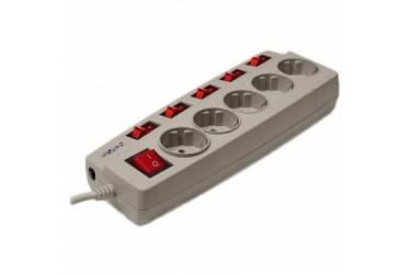 Сетевой фильтр Sven Platinum, 5м., 5 розеток, серый, цветная коробка