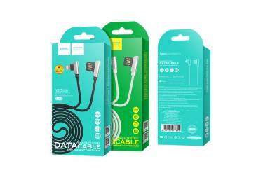 Кабель USB Hoco U42 exquisite steel Lightning charging data cable Black
