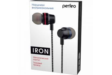 Наушники Perfeo IRON внутриканальные металлические с тканевым проводом черные