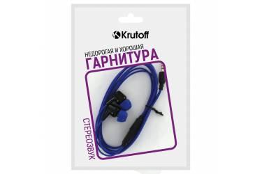 Наушники Krutoff HF-J69 внутриканальные с микрофоном синие