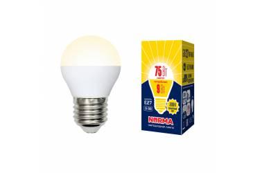 Лампа светодиодная Uniel Norma LED-G45-9W/WW/E27/FR/NR 3000K шар