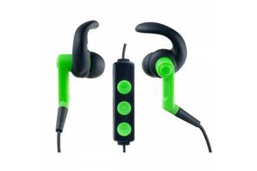 Наушники беспроводные (Bluetooth) Perfeo RUN-UP внутриканальные c микрофоном спортивные зелёные/чёрн