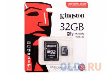 MicroSDHC флэш-накопитель 32GB Class 10 Kingston UHS-I Industrial W/R 90/35 MB/s + adapter