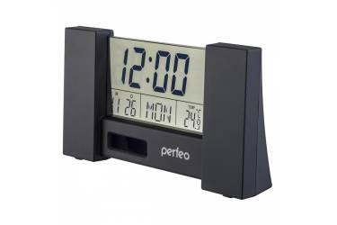 "Часы-будильник Perfeo ""Сity"", чёрный, (PF-S2056) время, температура, дата"