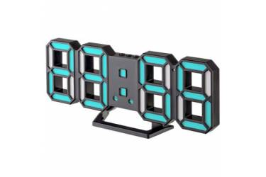 "LED часы-будильник Perfeo ""LUMINOUS 2"", черный корпус / синяя подсветка (PF-6111)"