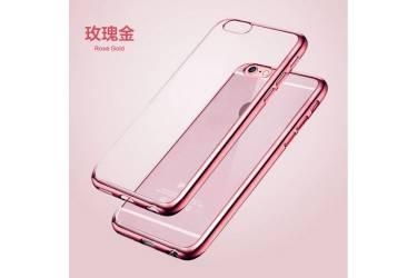 Силиконовый чехол Xiaomi Mi MAX 2 с Розовым золотом зеркальной рамкой