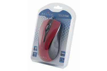 Мышь Oklick 215M черный/красный оптическая (800dpi) USB (2but)