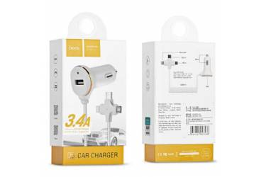 АЗУ Hoco Z5 Car Charger 3 in1 (8 pins port-Type-C-Micro) Белый