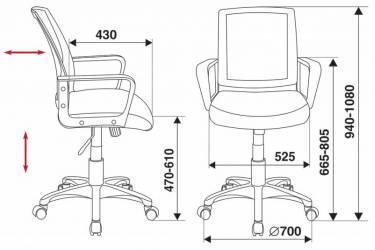 Кресло Бюрократ CH-498/BL/TW-11 спинка сетка синий сиденье черный TW-11