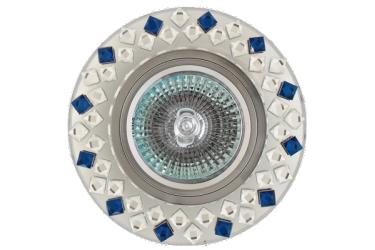 Светильник точечный_DE FRAN_ FT 508 MR16 хром зеркальный+стразы прозрачные и синии