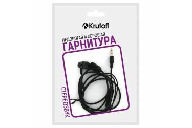 Наушники Krutoff HF-J69 внутриканальные с микрофоном черные
