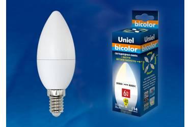 Лампа светодиодная Uniel LED-C37-6W/WW+NW/E14/FR PLB01WH двухцветная