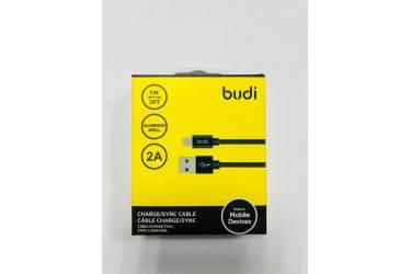 Кабель USB Budi M8J180 Lighting ткань 1 м черный