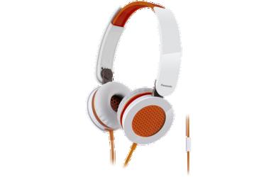 Наушники Panasonic RP-HXS 200E-D, полноразмерные, белые/оранжевые (10)